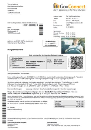 Brief zur Anhörung im Bußgeldverfahren© GovConnect GmbHBrief zur Anhörung im Bußgeldverfahren © GovConnect GmbH